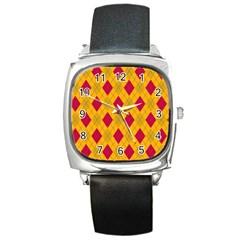 Plaid Pattern Square Metal Watch by Valentinaart