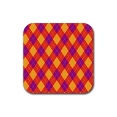 Plaid Pattern Rubber Coaster (square)  by Valentinaart