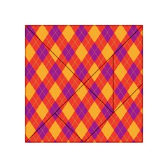 Plaid Pattern Acrylic Tangram Puzzle (4  X 4 ) by Valentinaart