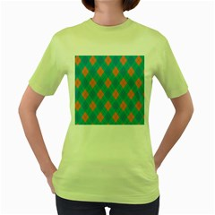 Plaid Pattern Women s Green T Shirt by Valentinaart