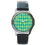 Plaid pattern Round Metal Watch Front