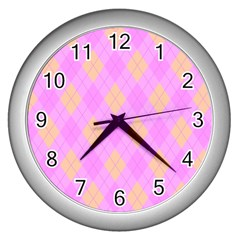 Plaid Pattern Wall Clocks (silver)  by Valentinaart