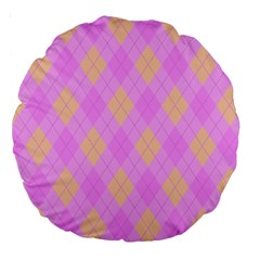 Plaid Pattern Large 18  Premium Round Cushions by Valentinaart
