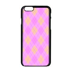 Plaid Pattern Apple Iphone 6/6s Black Enamel Case by Valentinaart