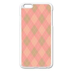 Plaid Pattern Apple Iphone 6 Plus/6s Plus Enamel White Case by Valentinaart