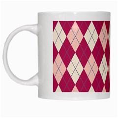 Plaid Pattern White Mugs by Valentinaart