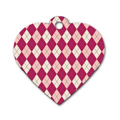 Plaid Pattern Dog Tag Heart (two Sides) by Valentinaart