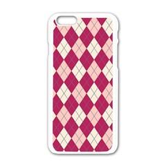 Plaid Pattern Apple Iphone 6/6s White Enamel Case by Valentinaart