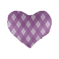 Plaid Pattern Standard 16  Premium Flano Heart Shape Cushions by Valentinaart
