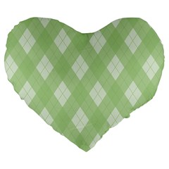 Plaid Pattern Large 19  Premium Heart Shape Cushions by Valentinaart
