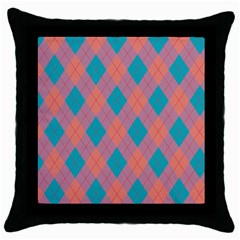 Plaid Pattern Throw Pillow Case (black) by Valentinaart