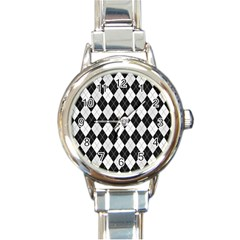Plaid Pattern Round Italian Charm Watch by Valentinaart