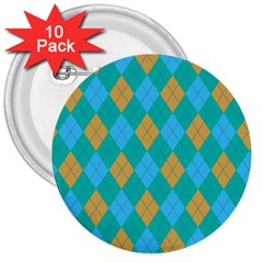 Plaid Pattern 3  Buttons (10 Pack)  by Valentinaart