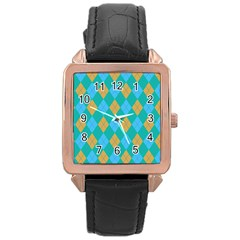 Plaid Pattern Rose Gold Leather Watch  by Valentinaart