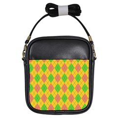 Plaid Pattern Girls Sling Bags by Valentinaart