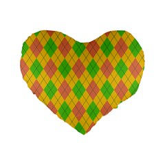Plaid Pattern Standard 16  Premium Heart Shape Cushions by Valentinaart