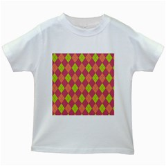 Plaid pattern Kids White T-Shirts