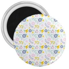 Vintage Spring Flower Pattern  3  Magnets by TastefulDesigns