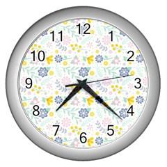 Vintage Spring Flower Pattern  Wall Clocks (silver)  by TastefulDesigns