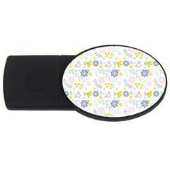 Vintage Spring Flower Pattern  Usb Flash Drive Oval (4 Gb) by TastefulDesigns