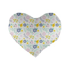 Vintage Spring Flower Pattern  Standard 16  Premium Heart Shape Cushions by TastefulDesigns