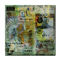 Old Newspaper And Gold Acryl Painting Collage Tile Coasters by EDDArt
