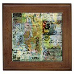 Old Newspaper And Gold Acryl Painting Collage Framed Tiles by EDDArt