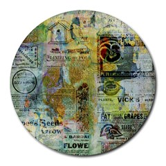 Old Newspaper And Gold Acryl Painting Collage Round Mousepads by EDDArt