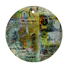 Old Newspaper And Gold Acryl Painting Collage Ornament (round) by EDDArt