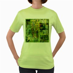 Old Newspaper And Gold Acryl Painting Collage Women s Green T Shirt by EDDArt