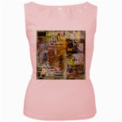 Old Newspaper And Gold Acryl Painting Collage Women s Pink Tank Top by EDDArt