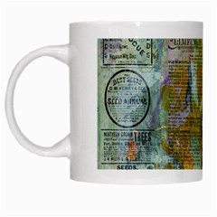 Old Newspaper And Gold Acryl Painting Collage White Mugs by EDDArt