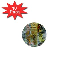 Old Newspaper And Gold Acryl Painting Collage 1  Mini Buttons (10 Pack)  by EDDArt