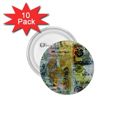 Old Newspaper And Gold Acryl Painting Collage 1 75  Buttons (10 Pack) by EDDArt
