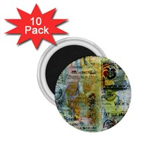 Old Newspaper And Gold Acryl Painting Collage 1 75  Magnets (10 Pack)  by EDDArt