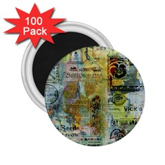 Old Newspaper And Gold Acryl Painting Collage 2 25  Magnets (100 Pack)  by EDDArt