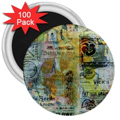Old Newspaper And Gold Acryl Painting Collage 3  Magnets (100 Pack) by EDDArt