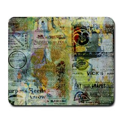 Old Newspaper And Gold Acryl Painting Collage Large Mousepads by EDDArt