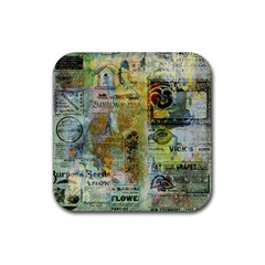 Old Newspaper And Gold Acryl Painting Collage Rubber Coaster (square)  by EDDArt