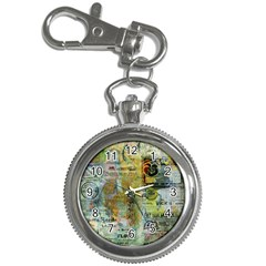 Old Newspaper And Gold Acryl Painting Collage Key Chain Watches by EDDArt