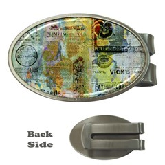 Old Newspaper And Gold Acryl Painting Collage Money Clips (oval)  by EDDArt
