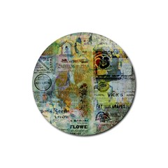 Old Newspaper And Gold Acryl Painting Collage Rubber Coaster (round)  by EDDArt