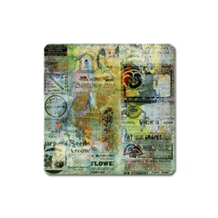 Old Newspaper And Gold Acryl Painting Collage Square Magnet by EDDArt