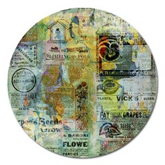 Old Newspaper And Gold Acryl Painting Collage Magnet 5  (round) by EDDArt