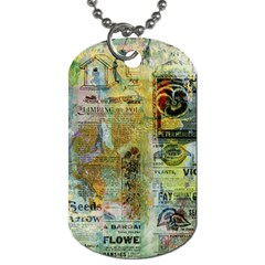 Old Newspaper And Gold Acryl Painting Collage Dog Tag (one Side) by EDDArt