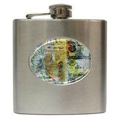 Old Newspaper And Gold Acryl Painting Collage Hip Flask (6 Oz) by EDDArt