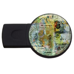 Old Newspaper And Gold Acryl Painting Collage Usb Flash Drive Round (2 Gb) by EDDArt