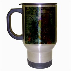 Old Newspaper And Gold Acryl Painting Collage Travel Mug (silver Gray) by EDDArt