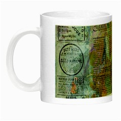 Old Newspaper And Gold Acryl Painting Collage Night Luminous Mugs by EDDArt
