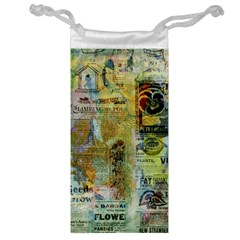 Old Newspaper And Gold Acryl Painting Collage Jewelry Bag by EDDArt